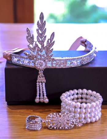 1920s Headband Bracelet Ring Set Vintage Bridal Great Gatsby Flapper Headpiece