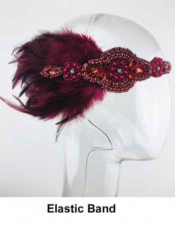 1920s Red Feather Headband lx0259