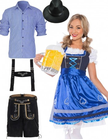 Couples Oktoberfest Beer Maid Dirndl German Costume lh220blh302blh999
