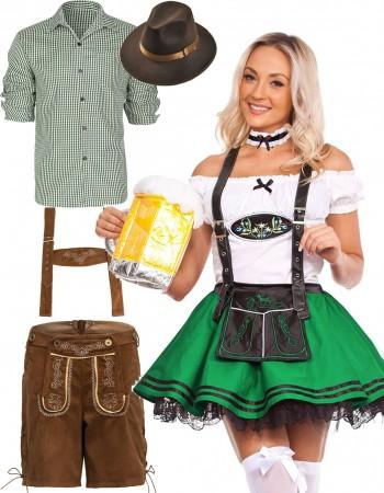 Couple Green Oktoberfest German Beer Lederhosen lh220glg204g