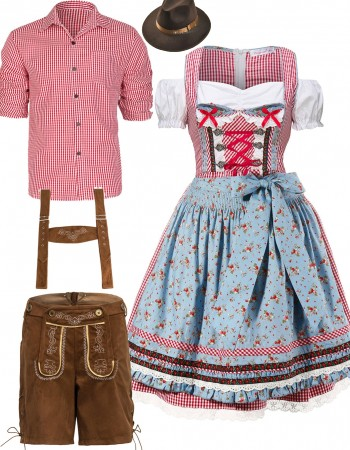 Couple Lederhosen Oktoberfest Beer Garden Costume lh220r+lh317b