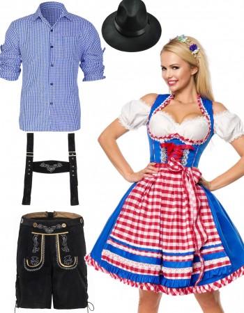 Couple Blue Oktoberfest German Wench Costume lh220blh324blh999