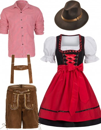 Red Couple Lederhosen Oktoberfest Alpine Costume lh220r+ln1001r
