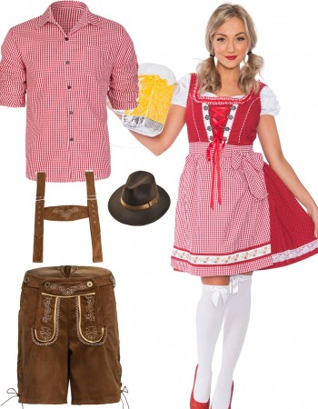 Red Couple Lederhosen Oktoberfest Beer Garden Costume lh220r+lh300r
