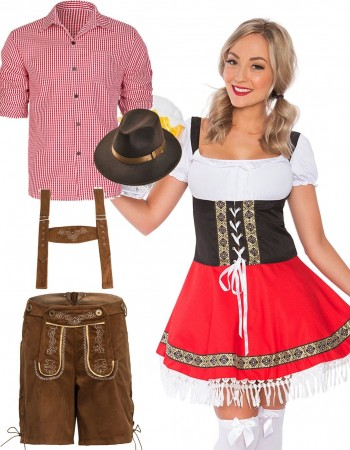 Couple Red Lederhosen Oktoberfest Beer Dirndl lh220rlh301rlh998