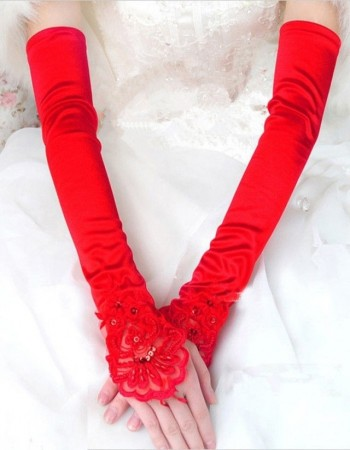 Ladies Red Lace Gloves Over Elbow Length