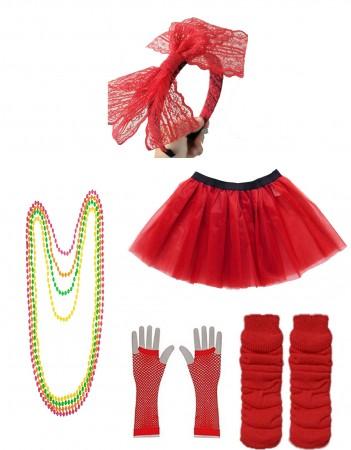 Red Coobey Ladies 80s Tutu Skirt and Accessory Set tt1074-3tt1059-4lx3006-3tt1017tt1048-11