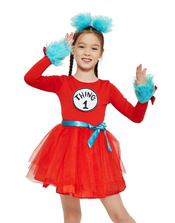 Girls Dr Seuss Cat In The Hat Thing Costume