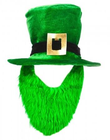 St Patricks Day Plush Leprechaun Hat with Beard