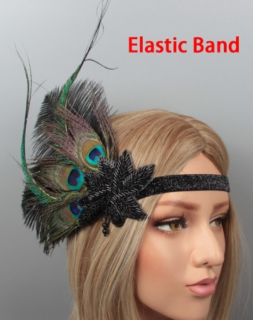 1920s Peacock Feather Vintage Bridal Great Gatsby Flapper Headpiece