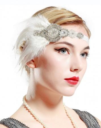White 1920s Feather Headband Gatsby