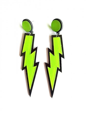 80s Green Glitter Lightning Earrings