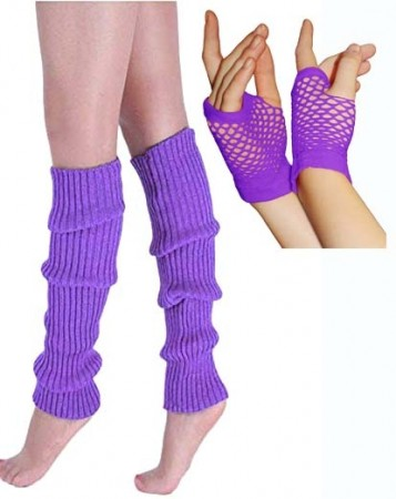 Coobey 80s Neon  Fishnet Gloves  Leg Warmers accessory set Purple