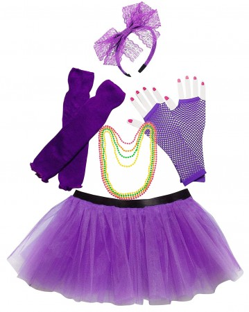 Purple Coobey Ladies 80s Tutu Skirt with Accessory