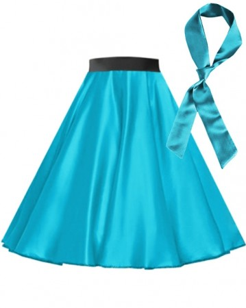 Aqua Blue Satin 1950's Rock n Roll Style 50s skirt