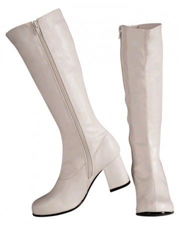 60s, 70s Costumes Australia -Ladies Go Go White Knee High Adult Womens Boots Shoes Hippy 60 70 Disco Costume Accessories