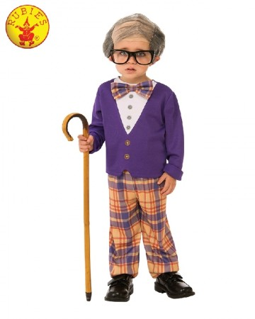 Grandpa little Old man Geezer Child Cosplay Costume Party Kids Outfit 100 days of school