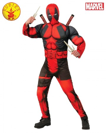 Teen Deluxe Muscle Chest Dead Pool Deadpool Costume