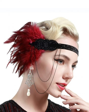 Ladies 20s Red Feather Vintage Gatsby Flapper Headpiece