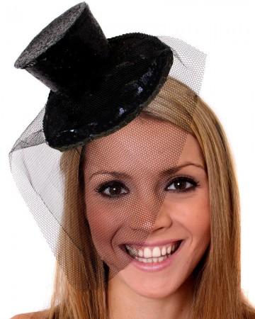 Black Fever Mini Top Hat on headband Ladies Mini Glitter Top Hat