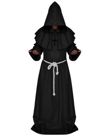 Black Medieval Friar Hooded Robe Monk Cross Necklace Renaissance Costume Cosplay Mans Halloween