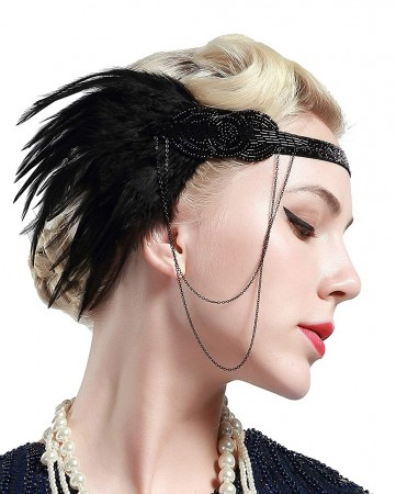 1920s Headband Feather Vintage Great Gatsby Flapper Headpiece