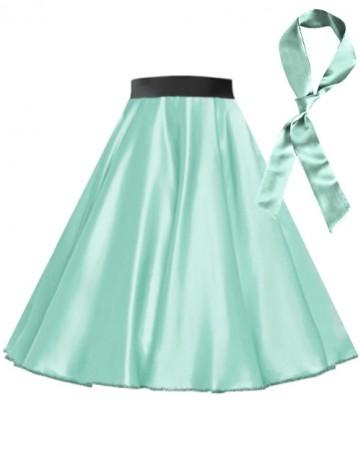 Light Blue Satin 1950's Rock n Roll Style 50s skirt