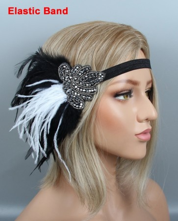 1920s Black White Feather Vintage Bridal Great Gatsby Flapper Headpiece