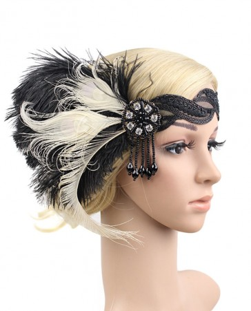 1920s White Black Feather Great Gatsby Flapper Headpiece
