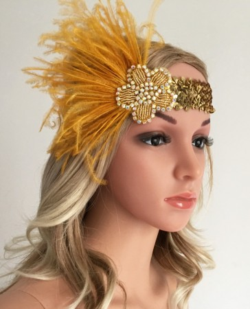Ladies 20s Feather Vintage Bridal Great Gatsby Flapper Headpiece
