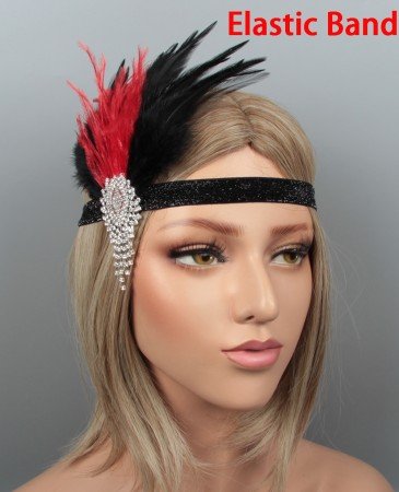 1920s Black Red Feather Vintage Bridal Great Gatsby Flapper Headpiece