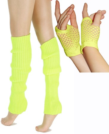 Coobey 80s Neon Yellow Fishnet Gloves Leg Warmers accessory set