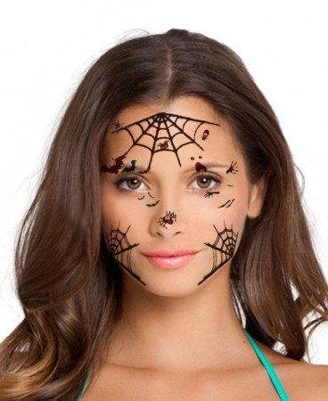 Ladies Halloween Spider Day of the Dead Face Temporary Tattoo