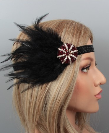 1920s Black Flapper Feather Great Gatsby Headpiece
