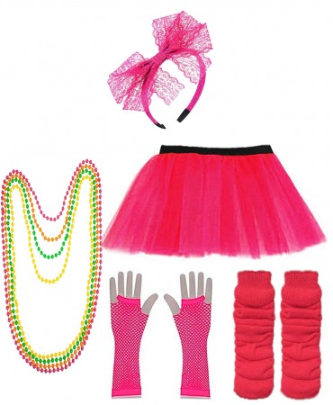Dark Pink Coobey Ladies 80s Tutu Skirt Fishnet Gloves Leg Warmers Necklace Dancing Costume Accessory Set tt1074-2tt1059-1lx3006-7tt1017tt1048-12