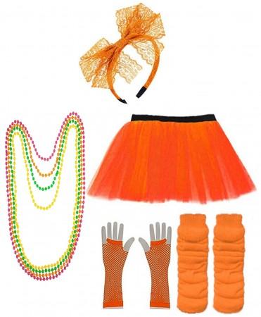 Orange Coobey Ladies 80s Tutu Skirt and Accessory Set tt1074-5tt1059-7lx3006-9tt1017tt1048-10