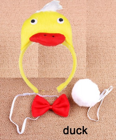 Duck Headband Bow Tail Set Kids Animal Farm Zoo Party Performance Headpiece Fancy Dress Costume Kit Accessory