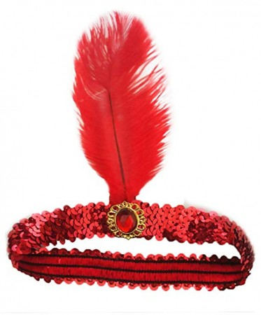 Red 1920s Headband Feather Vintage Bridal Great Gatsby Flapper Headpiece gangster ladies