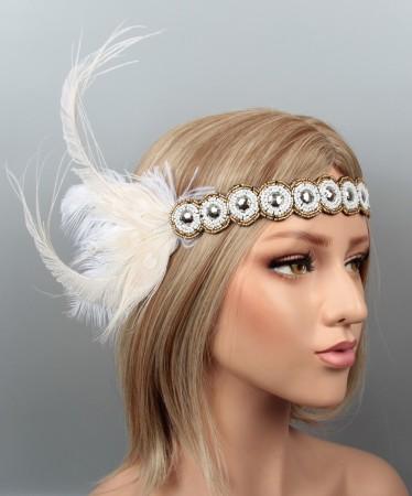 1920s Headband Feather Great Gatsby Headpiece ladies