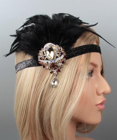 Black 20s Feather Vintage Bridal Great Gatsby Flapper Headpiece