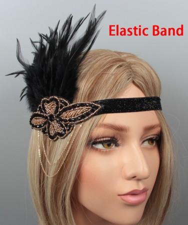 1920s Headband Feather Vintage Great Gatsby Flapper Headpiece