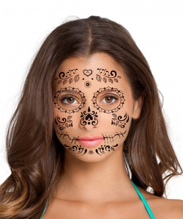 Ladies Black Day of the Dead Face Temporary Tattoo