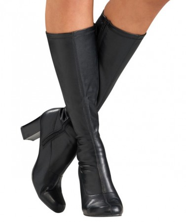 60s, 70s Costumes Australia - Ladies Go Go Black Knee High Adult Womens Boots Shoes Hippy 60 70 Disco Costume Accessories