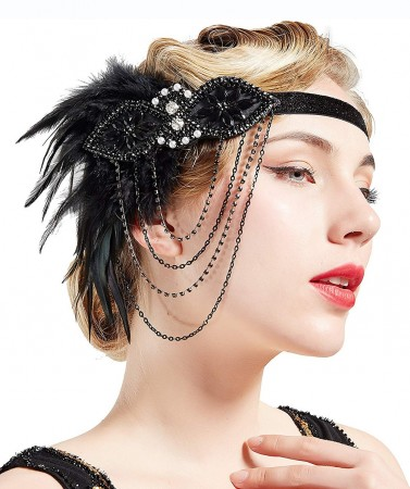 Ladies 20s Black Feather Gangster Headpiece