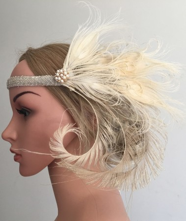 20s Feather Vintage Bridal Great Gatsby Flapper Headpiece