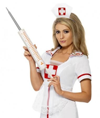 Nurse Costumes - Plastic 54cm Jumbo Syringe Injectors Nurse Smiffys Fancy Dress Halloween Costume Accessory