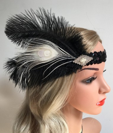 1920s Feather Vintage Great Gatsby Flapper Headpiece
