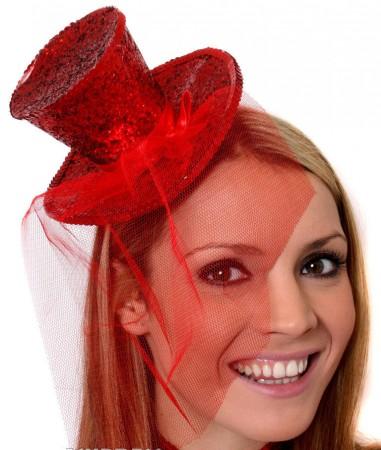 Red Fever Mini Top Hat on headband Ladies Mini Glitter Top Hat