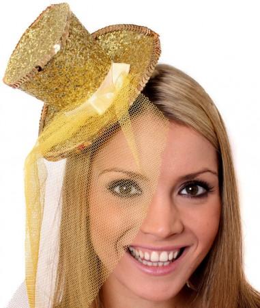 Gold Fever Mini Top Hat on headband Ladies Mini Glitter Top Hat