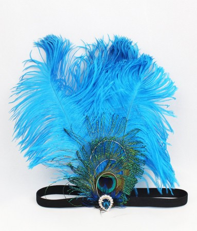 1920s Blue Feather Great Gatsby Flapper Headpiece